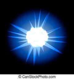 Star with rays white blue in space cosmos isolated on black back