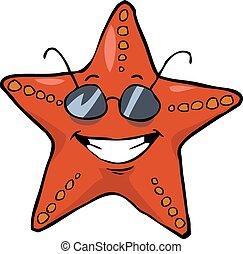 Cartoon starfish in sunglasses smiling vector illustration