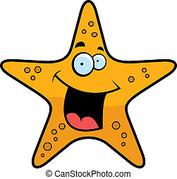 A cartoon gold starfish smiling and happy.