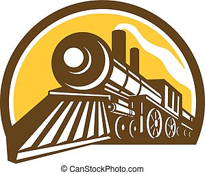 Icon style illustration of a Steam Locomotive railway Train viewed froma low angle set inside Circle on isolated background.