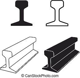 steel train rail track profile symbol - illustration for the web