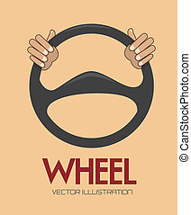 steering wheel over background vector illustration