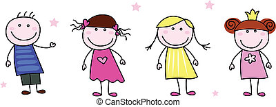 Stick figure inspired children in different characters. Vector Illustration isolated on white.