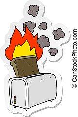 sticker of a cartoon burnt toast
