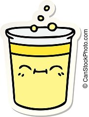 sticker of a quirky hand drawn cartoon cup of lemonade