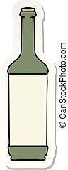sticker of a quirky hand drawn cartoon wine bottle