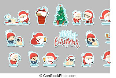 Sticker Santa Claus Funny Christmas characters in flat style.