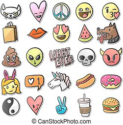 Stickers, pins, patches collection in cartoon 80s-90s comic style, vector illustration.