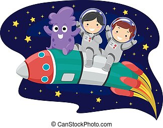 Illustration of Kids and an Alien Riding on a Space Rocket
