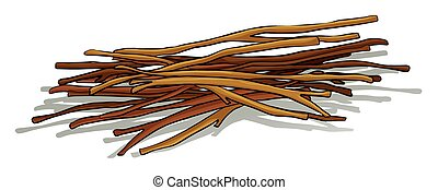 Bunch of wooden sticks lying down
