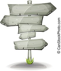 Illustration of a cartoon comic stone and rock road and transportation arrows signs, on stake for advertisement messages or game ui graphic menu design