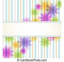 Stripe floral background with copy space. File contains Transparency, Gradients. Clipping mask remained with uncropped flowers.