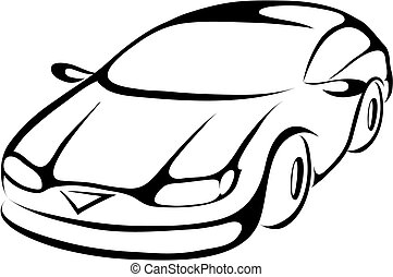stylized cartoon icon of a sports car, vector illustration