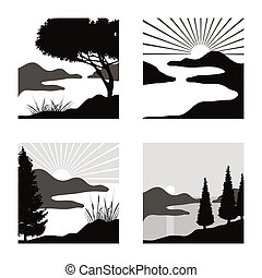 stylized coastal landscape illustrations fot usage as pictograms