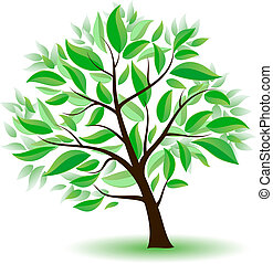 Stylized tree with green leaves. Illustration on white background