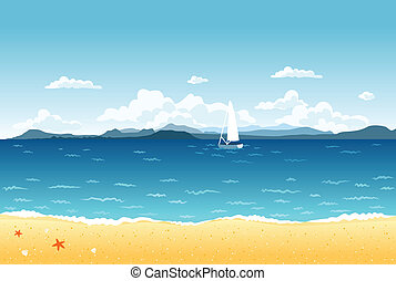 Summer blue sea landscape with sailing boat and mountains on the horizon.