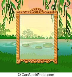 Summer sketch with space for your text on the background of trees and pond in the Park. Sample of greeting card, festive poster or party invitations. Vector illustration.