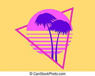 Summer time. 80s Palm trees on a sunset. Retro sci-fi sun in triangle, futuristic logo. Synthwave and retrowave style. Vector illustration