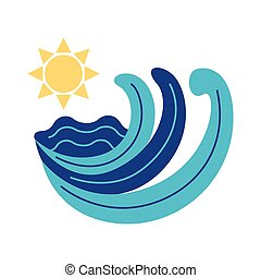 sun and sea waves flat style icon