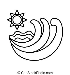 sun and sea waves line style icon