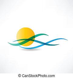 sun sea abstractly icon