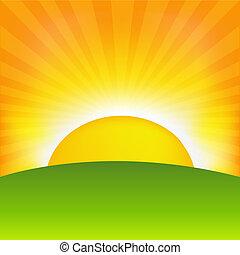Sunset And Horizon, Vector Illustration