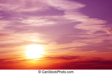 Fantasy beautiful sunset. Horizontal photo