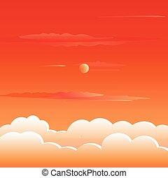 Sunset mountains Summer landscape illustration