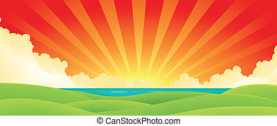 Illustration of a cartoon summer sunrise or sunset landscape over ocean with green fields at the foreground