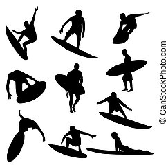many detailed sufer silhouettes