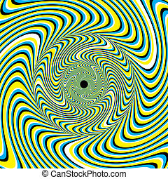 Striped shapes appear to move in a swirling fashion in an abstract background vector illustration of the optical illusion variety.