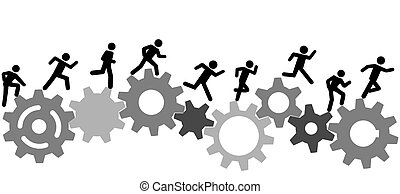 As the gears turn a person or people in a hurry run a technology, business, or industry race.