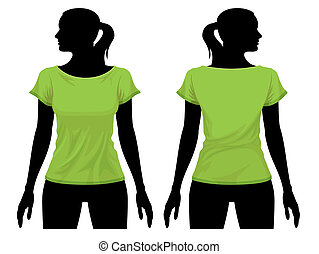 Women body silhouette with t-shirt template, vector illustration