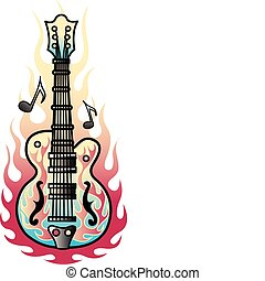 Tattoo design of a rock and roll guitar with flames and musical notes.