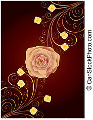 Tea-rose and gold curls on brown background