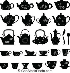 A set of teapots in vector.