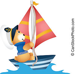 Scalable vectorial image representing ateddy bear sailor in a boat, isolated on white.