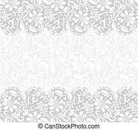 template for wedding, invitation or greeting card with lace fabric background. horizontal seamless pattern