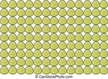 Texture background from slices of cucumber stacked side by side