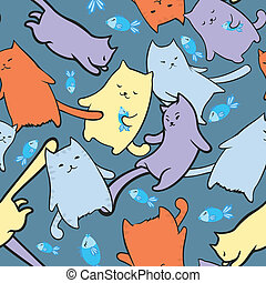 Texture with funny cartoon cats