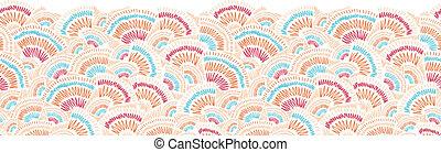 Textured geometric doodle horizontal seamless pattern border
