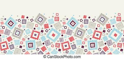 Textured geometric squares horizontal seamless pattern border