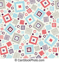 Textured geometric squares seamless pattern background