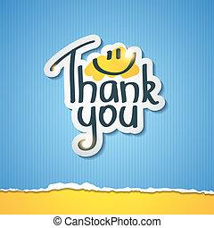 Thank You inscription on paper sticker, vector illustration