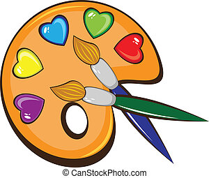 The art palette of colors in the form of hearts and brushes. Illustration on white background