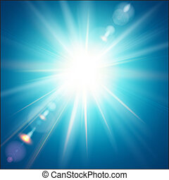 The bright sun shines on a blue sky background. Vector illustration with lens flare effect.
