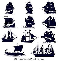Old sailing ships. Illustration on white background.