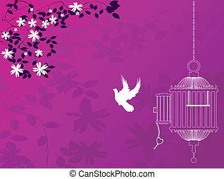 Bird flying away form cage, vintage background