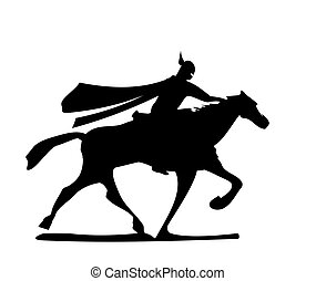 The knight riding a horse.