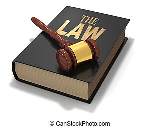 The law book with gavel on white background - 3d render